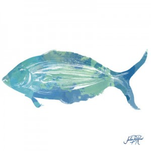 Watercolor Fish in Teal I