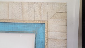 4 Reclaimed Distressed Ivory or White with Bimini Blue inner frame