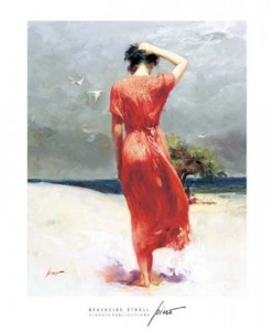 Beach Stroll Pino 28x32 framed