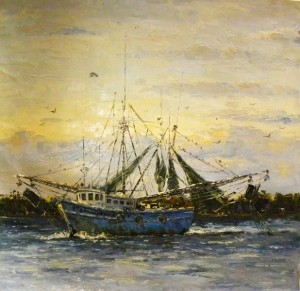 Blue Shrimper canvas 44x44