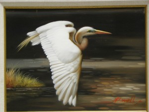 Egret in Flight ,Brunell 24x30
