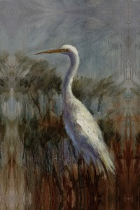 Egret on Blue canvas 24x36 or 30x42