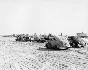 Outer Banks History Collection 22 cars racing on the beach