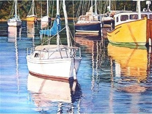 elaine hahn sailboat reflections