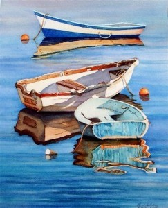 elaine hahn dinghies at anchor