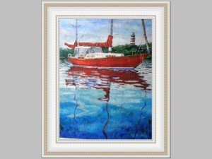 Red Sailboat E Pope 36x48 Price Code S
