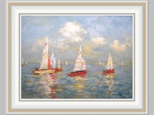 Red Sailboat Regatta 34x46 Giclee price code Q