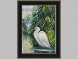 Single American Egret Canvas 30x42