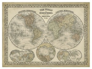 vintage world map custom sizeable